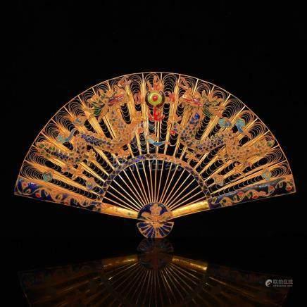 Exquisite Openwork Gilt Gold Red Copper Enamel Fan