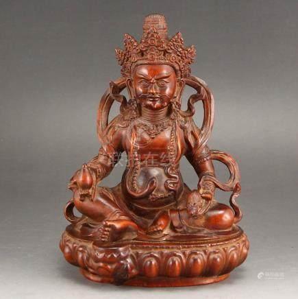 Tibetan Buddhism Boxwood Wood Yellow Jambhala Statue