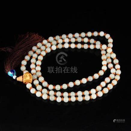 9 mm 108 Beads Hetian Jade Beads Prayer Necklace