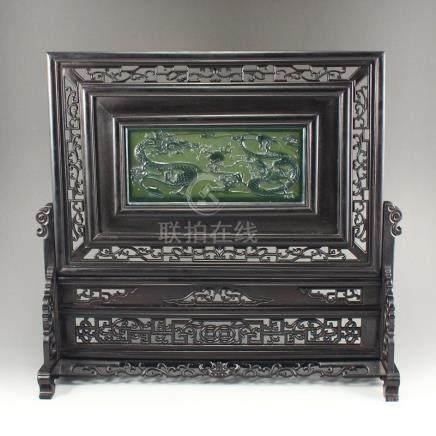 Vintage Zitan Wood Inlay Green Hetian Jade Screen