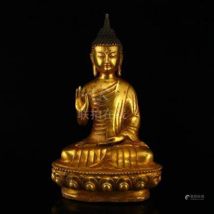 Chinese Ming Dy Gilt Bronze Siddhartha Buddha Statue
