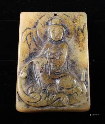Handcarved jade plaque Guanyin Buddha 1920 58gr