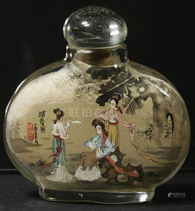China Glass snuff bottle decorated handmade painted