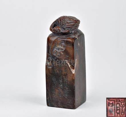 清 壽山石仙鶴印章