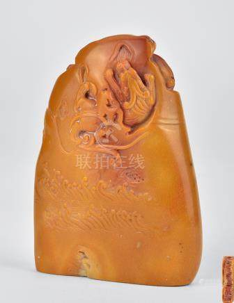 壽山石雕螭龍印章