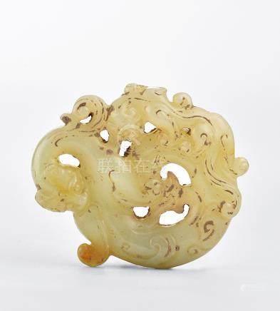 漢 白玉鏤雕雙龍佩