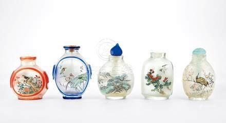 清 玻璃內繪花鳥紋煙壺 五件