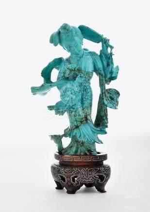 綠松石雕仕女擺件