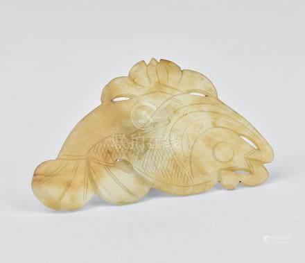 宋 白玉魚紋牌