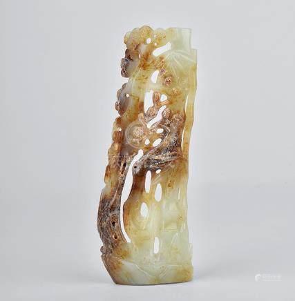 白玉鏤雕竹節紋臂擱