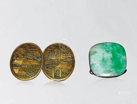18K 金鑲嵌扣翡翠扣 一組二件