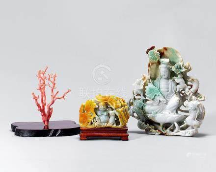 翡翠珊瑚 一組三件