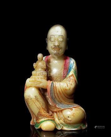 清 寿山加彩罗汉像