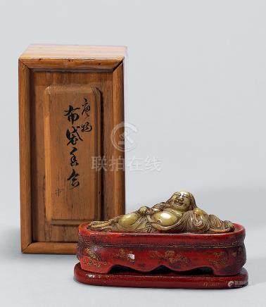 清早期 朱漆描金嵌宝刘海香盒