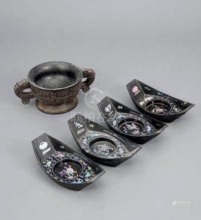 清 剔墨博古饕餮碗 連螺鈿茶船 四件