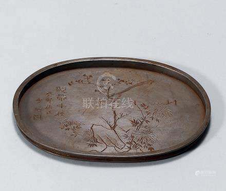 清 雕刻錫茶盆