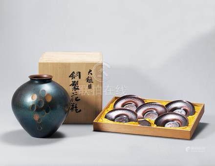 純銅製 五君子茶箕茶托 銅製花瓶 一組兩套
