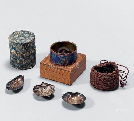 鉄茶罐 七寶蓋置 貝形銀置物 一組五件