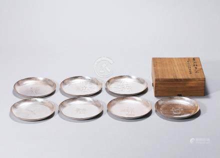 英青堂銀皿 一組七件
