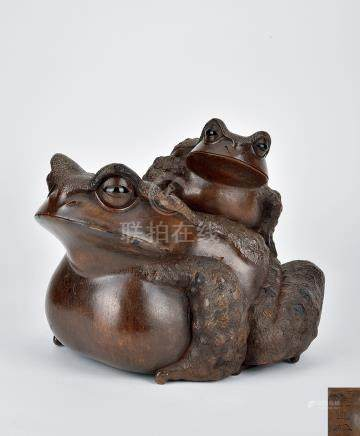 19世紀 日本木雕子母青蛙
