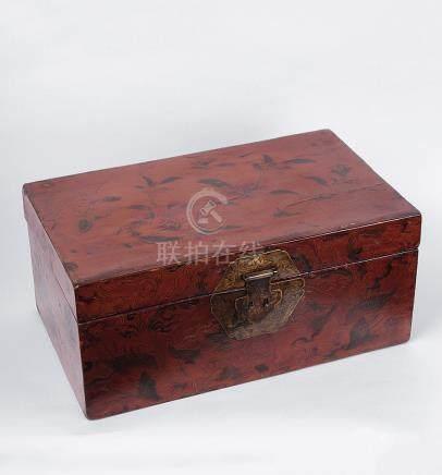 清 雕填鳳紋文房箱