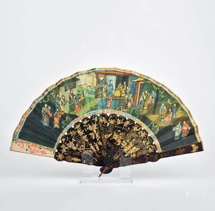 十九世紀 漆木描金花卉人物摺扇