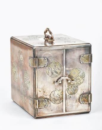 日本明治 銀刻團花紋首飾箱
