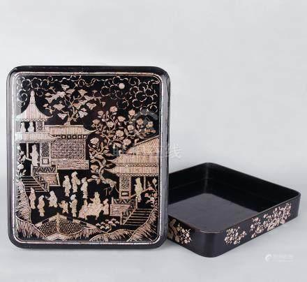 清 黑漆鏍鈿庭園人物蓋盒