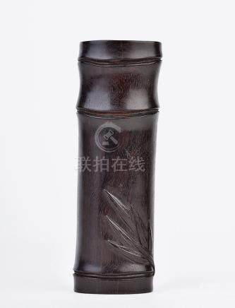 紫檀木雕竹節紋臂擱