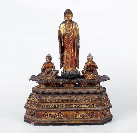 清  木胎髹金釋迦像
