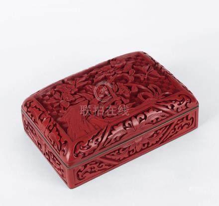 民國  剔紅花鳥紋盒