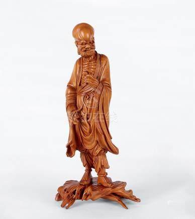 黃楊木 雕達摩像