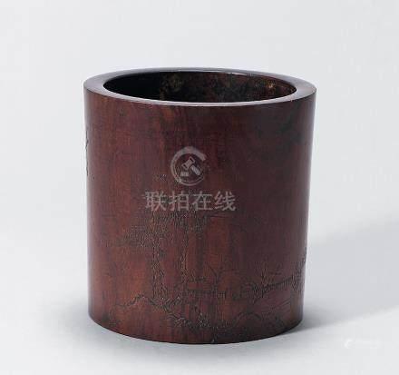 清早期 黃花梨刻山水詩文筆筒