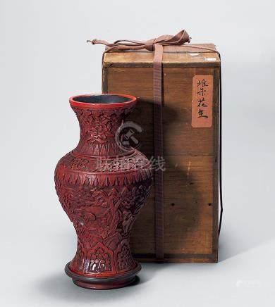 明剔紅花瓶