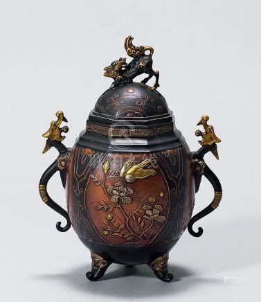 「大峰」款 明治時代金工雙龍瑞獸花鳥象嵌三足爐