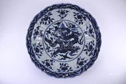 Large Ming Blue&White Dragon Plate