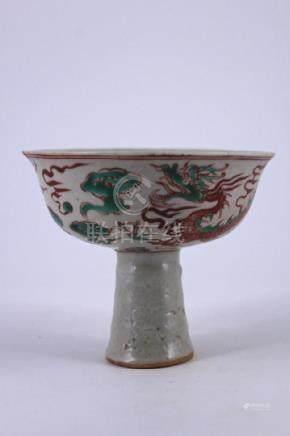 Ming DouCai Porcelain Handle Cup