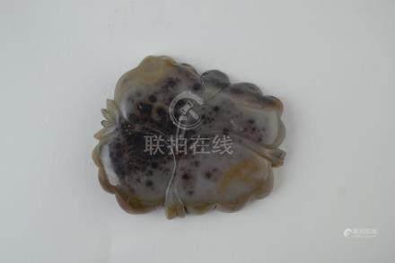 Portapinceles chino en ágata en tonos grises, marrones y neg