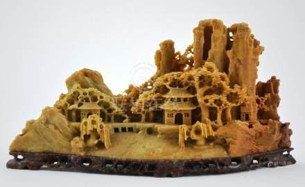 """Escultura china en piedra dura y piedra jabón: """"paisaje con"""