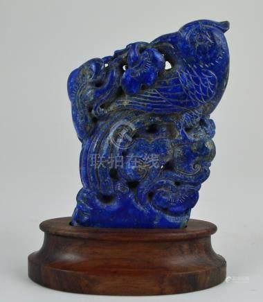 "Escultura china en lapislázuli: ""ave y flores"". Medidas: alt"