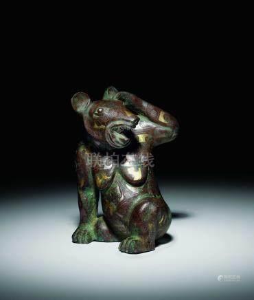 漢  青銅錯金銀熊