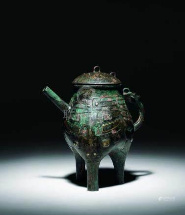 宋  青銅錯金銀獸面盉壺