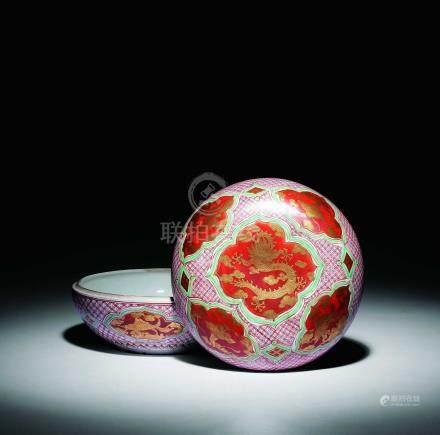 明萬曆  紅釉金彩龍紋盒
