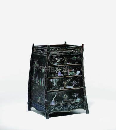 黑漆嵌螺鈿寶物箱