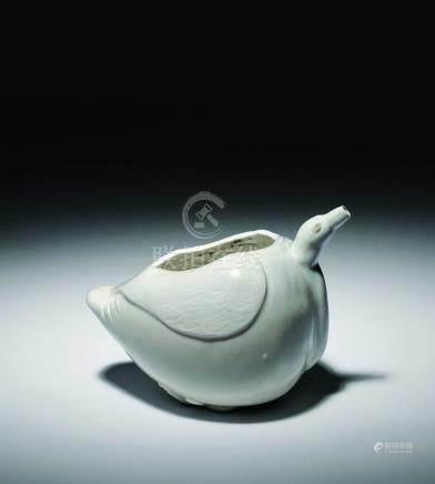 北宋  定窯白瓷鴨形水注