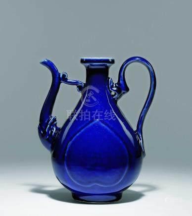 明  藍釉杏圓執壺