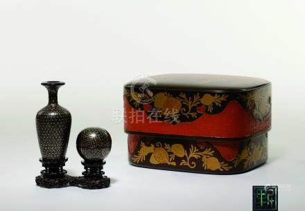 明末清初  江千里製 螺鈿鑲嵌點金微型香盒,香瓶一組