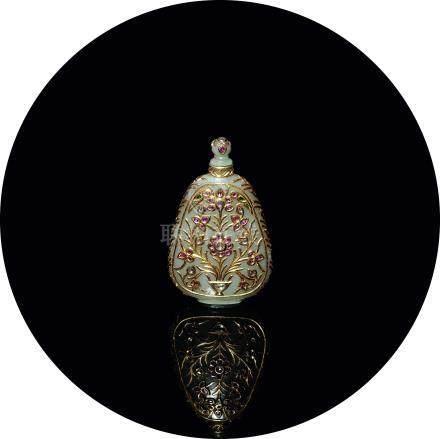 白玉鑲金嵌寶香水瓶