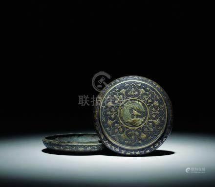 唐  珍珠地鏨花鎏金團鳳香盒