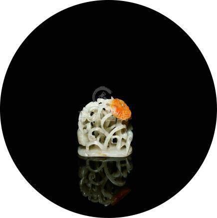 金-元  玉雕蓮鷺爐頂